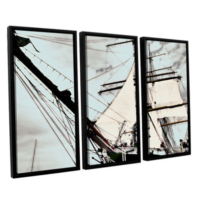 Brushstone Sailing On Star Of India I 3-pc. Floater Framed Canvas Wall Art