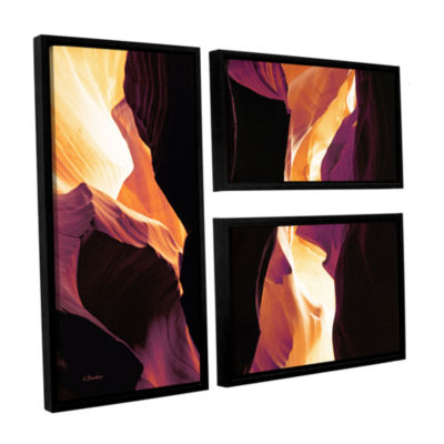 Brushstone Slot Canyon Light From Above 1 3-pc. Flag Floater Framed Canvas Wall Art