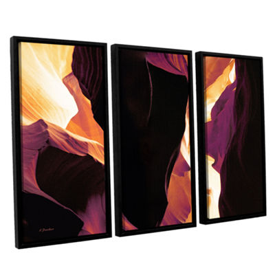 Brushstone Slot Canyon Light From Above 1 3-pc. Floater Framed Canvas Wall Art