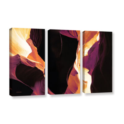 Brushstone Slot Canyon Light From Above 1 3-pc. Gallery Wrapped Canvas Wall Art