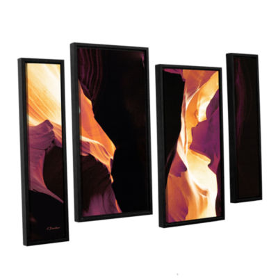 Brushstone Slot Canyon Light From Above 1 4-pc. Floater Framed Staggered Canvas Wall Art