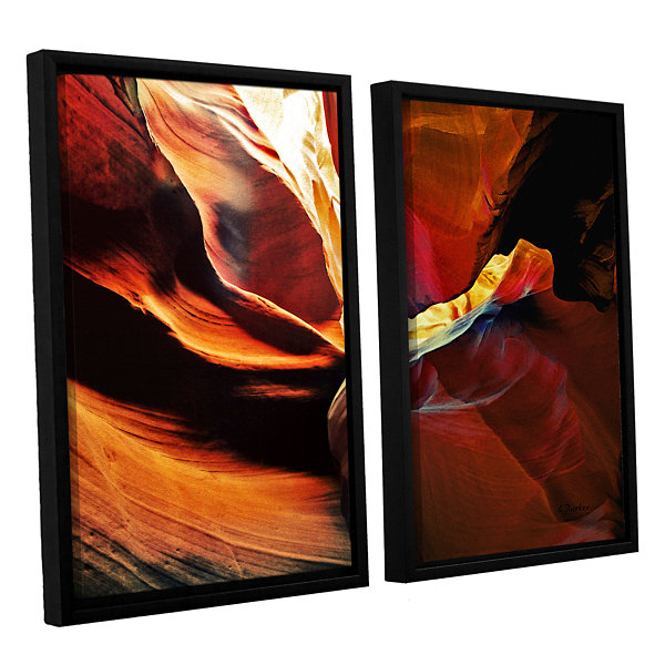 Brushstone Slot Canyon Light From Above 2 2-pc. Floater Framed Canvas Wall Art