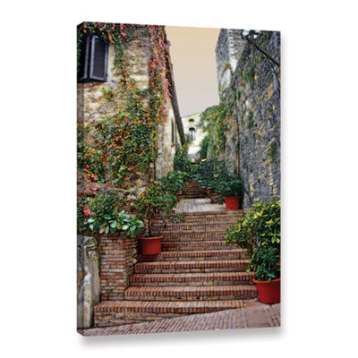 Brushstone San Gimignano - Potted Steps Gallery Wrapped Canvas Wall Art