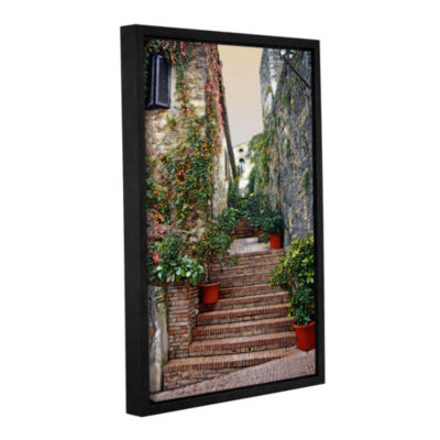 Brushstone San Gimignano - Potted Steps Gallery Wrapped Floater-Framed Canvas Wall Art