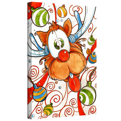Brushstone Rudolph Red Nose Deer Gallery Wrapped Canvas Wall Art