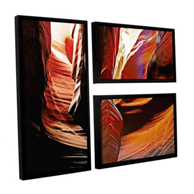 Brushstone Slot Canyon Light From Above 4 3-pc. Flag Floater Framed Canvas Wall Art
