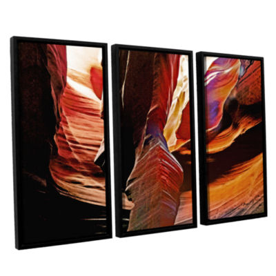Brushstone Slot Canyon Light From Above 4 3-pc. Floater Framed Canvas Wall Art