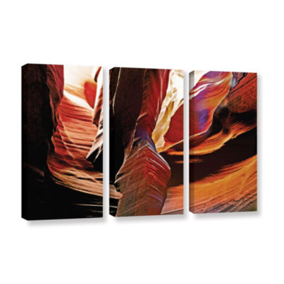 Brushstone Slot Canyon Light From Above 4 3-pc. Gallery Wrapped Canvas Wall Art