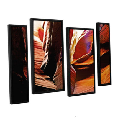 Brushstone Slot Canyon Light From Above 4 4-pc. Floater Framed Staggered Canvas Wall Art