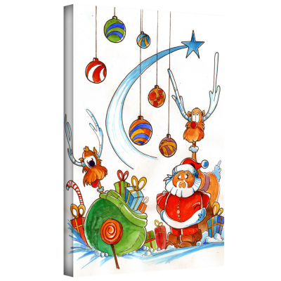 Brushstone Santa Claus Gang Gallery Wrapped CanvasWall Art