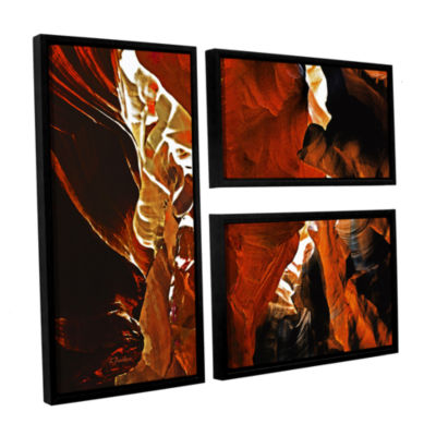 Brushstone Slot Canyon Light From Above 6 3-pc. Flag Floater Framed Canvas Wall Art