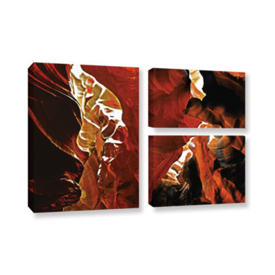 Brushstone Slot Canyon Light From Above 6 3-pc. Flag Gallery Wrapped Canvas Wall Art