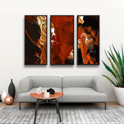 Brushstone Slot Canyon Light From Above 6 3-pc. Floater Framed Canvas Wall Art