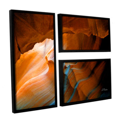 Brushstone Slot Canyon V 3-pc. Flag Floater FramedCanvas Wall Art
