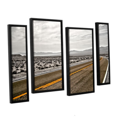 Brushstone Slow Curves 4-pc. Floater Framed Staggered Canvas Wall Art