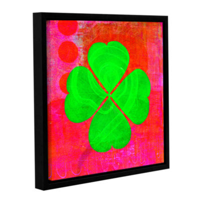 Brushstone Shamrock Gallery Wrapped Floater-FramedCanvas Wall Art
