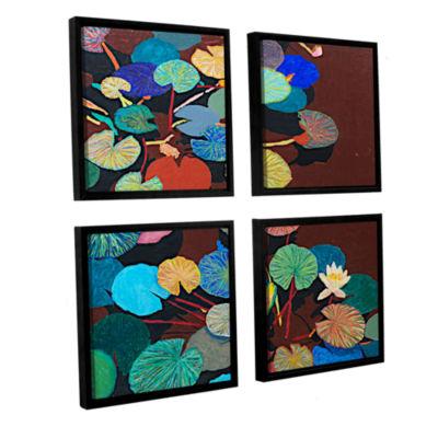 Brushstone Slow Stream 4-pc. Square Floater FramedCanvas Wall Art