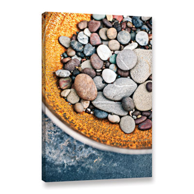 Brushstone Rusted Bowl Of River Stones Gallery Wrapped Canvas Wall Art