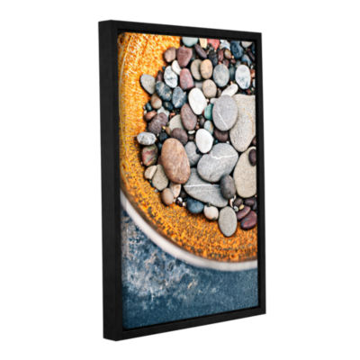 Brushstone Rusted Bowl Of River Stones Gallery Wrapped Floater-Framed Canvas Wall Art