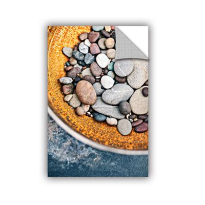 Brushstone Rusted Bowl Of River Stones Removable Wall Decal