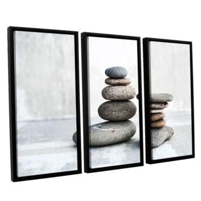 Brushstone Sea Stones 3-pc. Floater Framed CanvasWall Art
