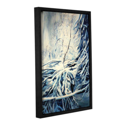 Brushstone Snow Blue Gallery Wrapped Floater-Framed Canvas Wall Art