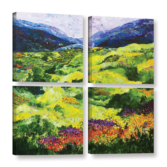 Brushstone Soft Grass 4-pc. Square Gallery WrappedCanvas Wall Art