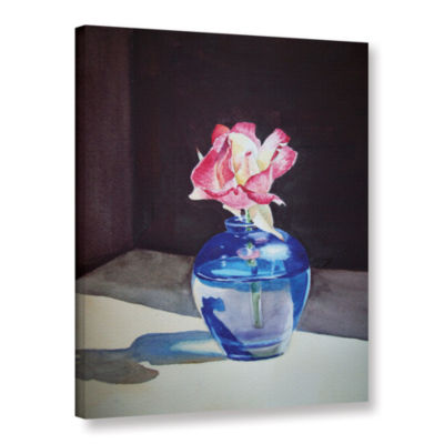 Brushstone Rose In The Blue Vase 1 Gallery WrappedCanvas Wall Art
