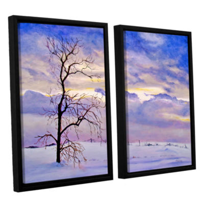 Brushstone Solitude (Snowy Landscape) 2-pc. Floater Framed Canvas Wall Art