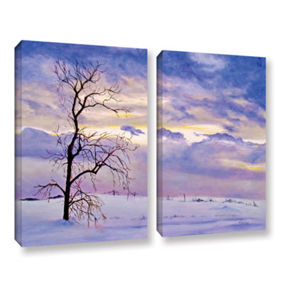 Brushstone Solitude (Snowy Landscape) 2-pc. Gallery Wrapped Canvas Wall Art