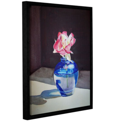 Brushstone Rose In The Blue Vase 1 Gallery WrappedFloater-Framed Canvas Wall Art