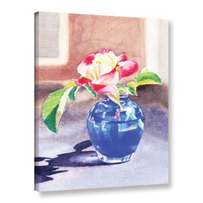 Brushstone Rose In The Blue Vase 2 Gallery WrappedCanvas Wall Art
