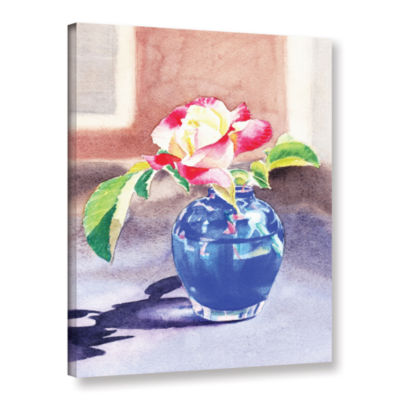 Brushstone Rose In The Blue Vase 2 Gallery WrappedCanvas Wall Art