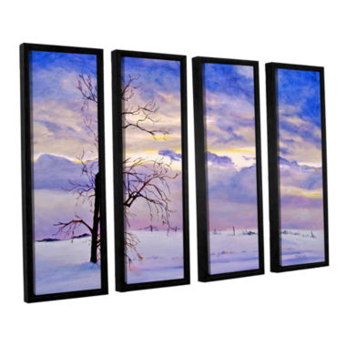 Brushstone Solitude (Snowy Landscape) 4-pc. Floater Framed Canvas Wall Art