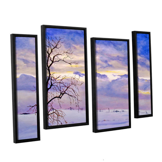 Brushstone Solitude (Snowy Landscape) 4-pc. Floater Framed Staggered Canvas Wall Art