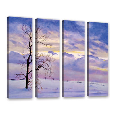 Brushstone Solitude (Snowy Landscape) 4-pc. Gallery Wrapped Canvas Wall Art
