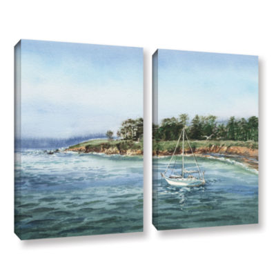 Brushstone Sailboat At The Shore 2-pc. Gallery Wrapped Canvas Wall Art
