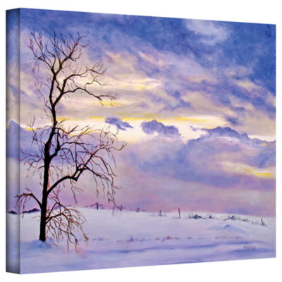 Brushstone Solitude (Snowy Landscape) Gallery Wrapped Canvas Wall Art