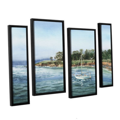 Brushstone Sailboat At The Shore 4-pc. Floater Framed Staggered Canvas Wall Art