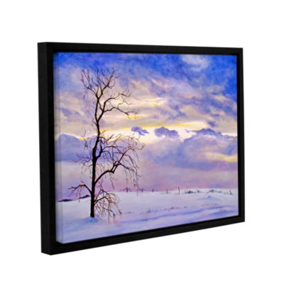 Brushstone Solitude (Snowy Landscape) Gallery Wrapped Floater-Framed Canvas Wall Art