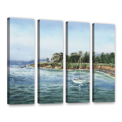 Brushstone Sailboat At The Shore 4-pc. Gallery Wrapped Canvas Wall Art