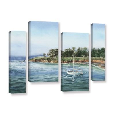 Brushstone Sailboat At The Shore 4-pc. Gallery Wrapped Staggered Canvas Wall Art
