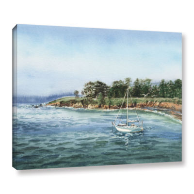 Brushstone Sailboat At The Shore Gallery Wrapped Canvas Wall Art