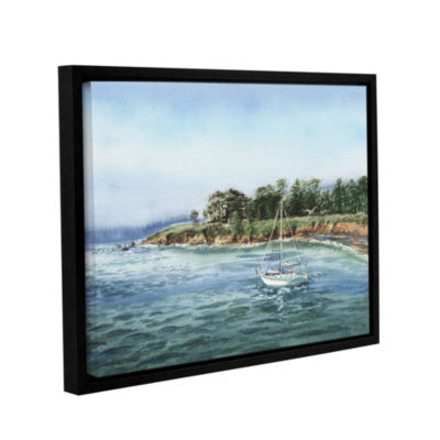 Brushstone Sailboat At The Shore Gallery Wrapped Floater-Framed Canvas Wall Art