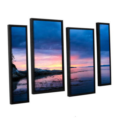 Brushstone Seascape 4-pc. Floater Framed StaggeredCanvas Wall Art