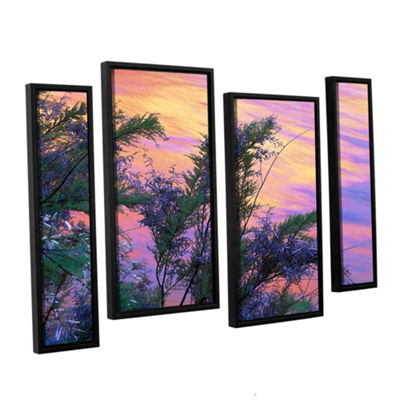 Brushstone Sandstone Reflections 4-pc. Floater Framed Staggered Canvas Wall Art