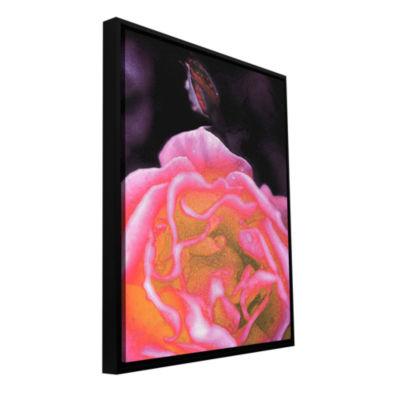 Brushstone Rose Bud Gallery Wrapped Floater-FramedCanvas Wall Art