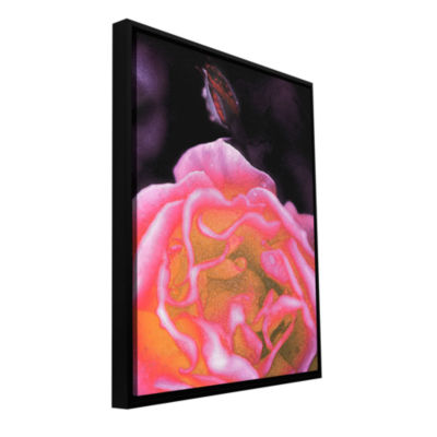 Brushstone Rose Bud Gallery Wrapped Floater-FramedCanvas Wall Art