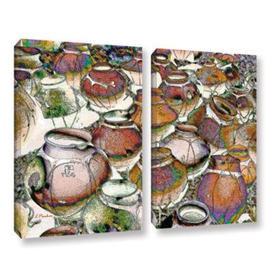 Brushstone Southwestern Pots 2-pc. Gallery WrappedCanvas Wall Art