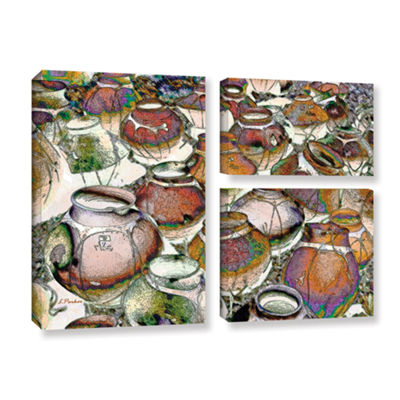Brushstone Southwestern Pots 3-pc. Flag Gallery Wrapped Canvas Wall Art
